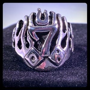 Other - Lucky seven with dice in flames ring
